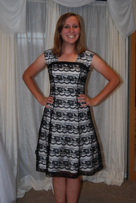 Short black and white with vertical lace